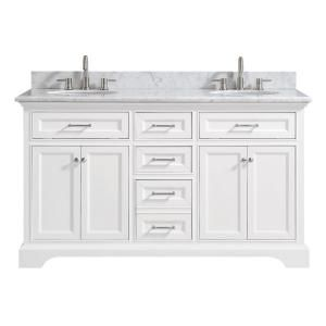 Home Decorators Collection Windlowe 61 In W X 22 In D X 35 In H Bath Vanity In White With Carrera Marble Vanity Top In White With White Sink 15101 Vs61c Wt Marble