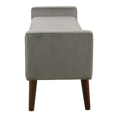 Superb Fulton Velvet Storage Bench Gray Homepop Products Alphanode Cool Chair Designs And Ideas Alphanodeonline
