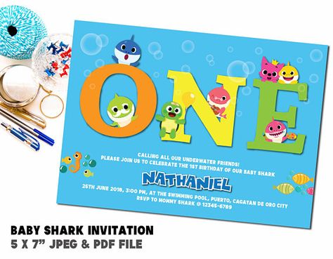 Baby Shark Birthday Party Invitation Underwater Creatures Sea Animals Printable Shower Baptism Digital File