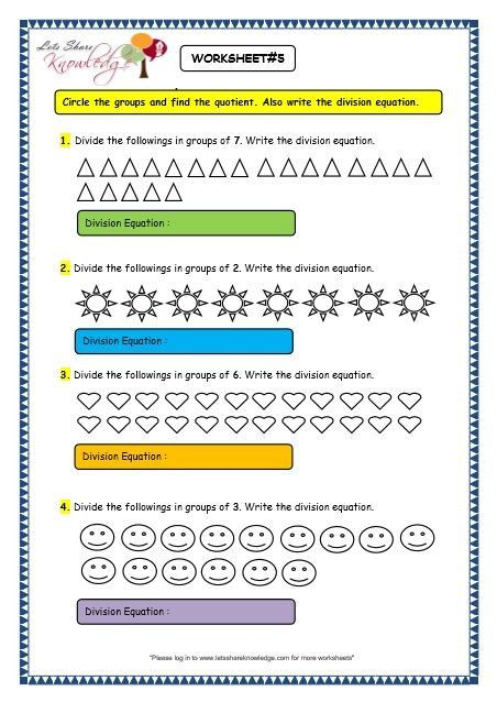 Division Worksheets For Grade 2 Grade 3 Maths Worksheets Division 6 2  Division By Grouping Division Worksheets, 2nd Grade Worksheets, 3rd Grade  Math Worksheets