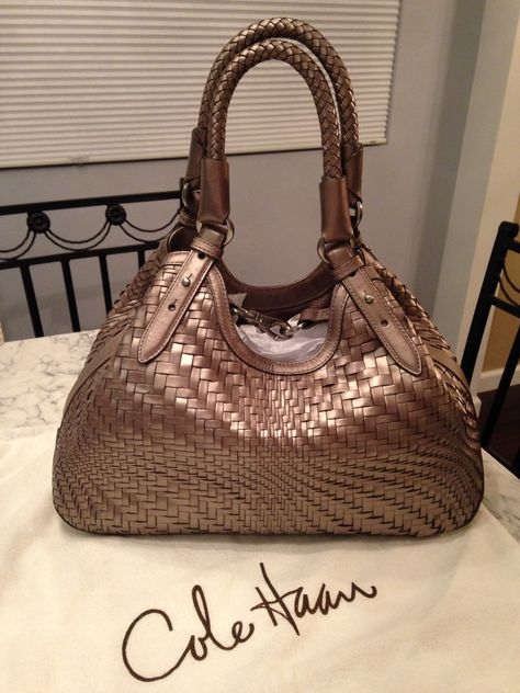 bbec796bd6 Cole Haan Nwt! Genevieve Woven Leather Hobo Satchel Handbag Metallic Gray /  Silver Brown Tote Bag. Get one of the hottest styles of the season!
