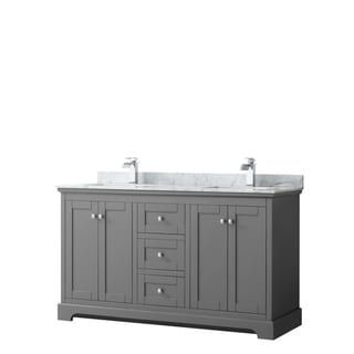 Avery 60 Inch Double Vanity Marble Top Square Sinks No Mirror