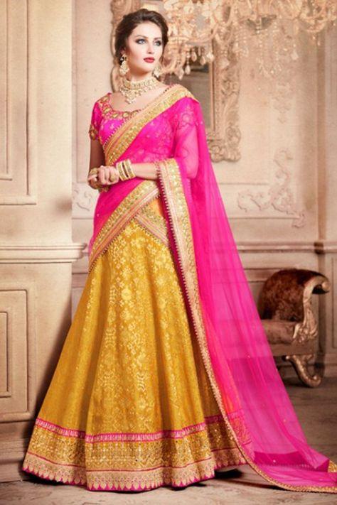ada53dc45c #Wedding wear Mustard Brocade Lehenga With Dupion Choli Online. PLease msg  or whatsapp at 0169179180 for order details. #fashion #womensyle  #pindupatta ...