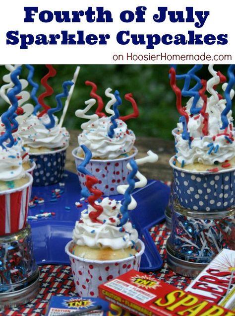 Fourth of July Sparkler Cupcakes | Recipe on HoosierHomemade.com