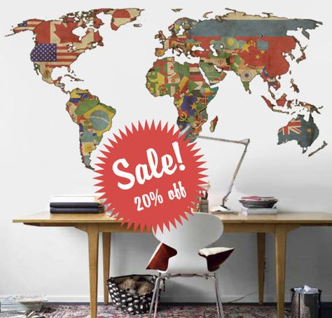 World map decal vintage flags world map wall by decoryourwall world map decal vintage flags world map wall by decoryourwall 7900 the girls might like this pinterest vintage flag walls and wall sticker gumiabroncs Gallery