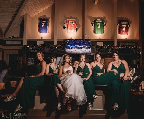 #emerald #green #weddingpartypicture #bridal #bridalparty #bridesmaids #bridesmaidsdress #weddingattire #weddinggown #ballgown #weddingdress #weddingveil #sneakers #tavern #7taptavern #ronjaworskiweddings #blueheronweddings #funweddingpictures #weddingpictureideas #weddingphotography #indoorpictures #indoorwedding #sportsbar #weddinvenue #njbride #njweddingvenue #winterwedding #winterweddingcolors #fallweddingcolors #gold #weddinginsporation #weddinghair #bridal P: Ray of Sunshine Photography