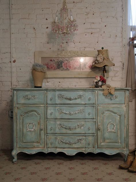 Painted Cottage Chic Shabby Aqua Server . by paintedcottages 525.00 . etsy.com