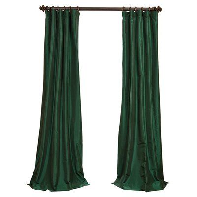Astoria Grand Lochleven Silk Solid Room Darkening Thermal Rod Pocket Single Curtain Panel Size Per Panel 50 W X 108 L Colour Azul In 2020 Curtains Emerald Green Curtains Green Curtains