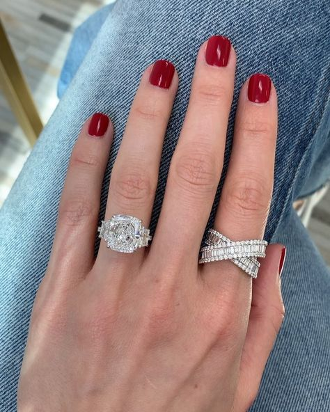 Cushion Cut Engagement Ring with Trapezoids by Ring Concierge