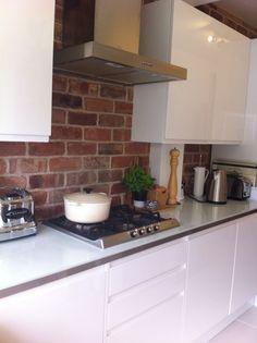 White Kitchen Exposed Brick white gloss brick wall - google search   kitchen ideas   pinterest