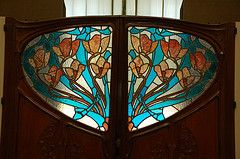 Art Nouveau stained glass doors