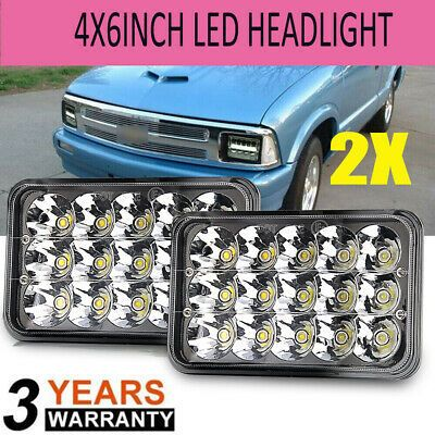 2x 4x6 Square Led Headlights With Drl For Chevrolet S10 Chevrolet Chevy Chevrolet Led Headlights