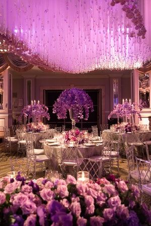 This Pink Purple Wedding Had Incredible Floral Adorned Ceiling