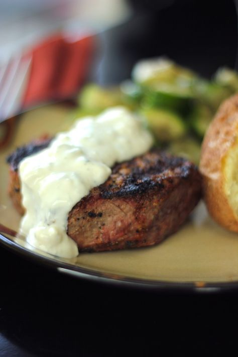 Filet Mignon with Melted Blue Cheese Sauce...try out McKinnon's grocery store in Danvers for great deals on a wide variety of steaks and meats !