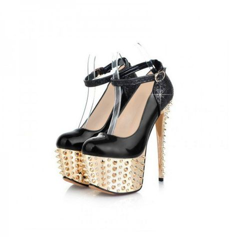 bd996a8d3ae9 Black and Golden Platform Heels Rivets Stiletto Heel Stripper Shoes for  Party