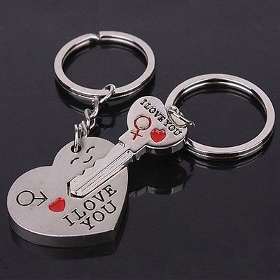 Engraved partner keychain with date engraving key and lock in silver stainless steel jewelry gift for Christmas for couples