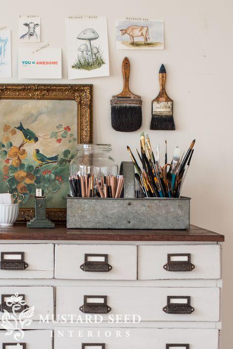 The art cabinet makeover - Miss Mustard Seed Art Cabinet, Shed Design, Studio Design, Design Design, Interior Design, Miss Mustard Seeds, Space Crafts, Room Paint, Farmhouse Decor