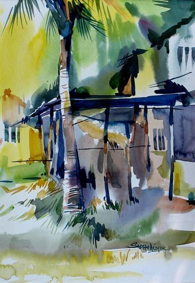 Image Result For Sadhu Aliyur Watercolor Landscape Paintings Indian Art Gallery India Art