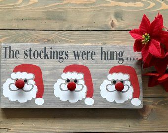 The stockings were hung reindeer Christmas frame sign farmhouse home decor wall hanger