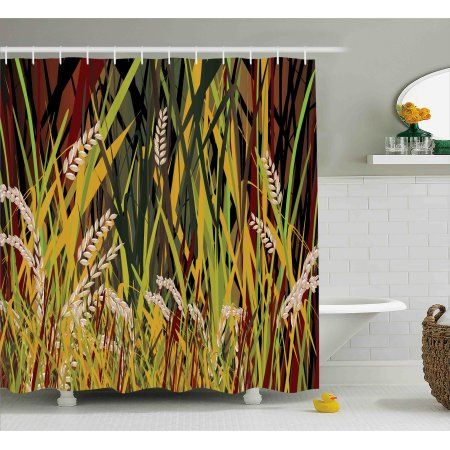Nature Shower Curtain Reeds Dried Leaves Wheat River Wild Plant Forest Farm Country Life Art Prin With Images French Country Bathroom Small Bathroom Pictures Country Farm