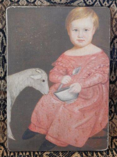 Folk Art Primitive Cat On 8x10 Canvas Board
