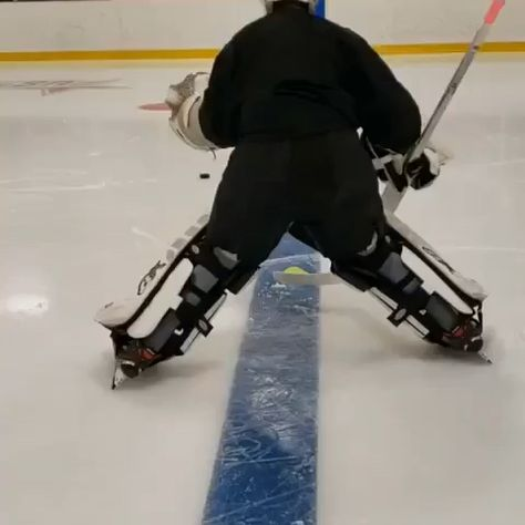 """🎥: @coachwierzba — """"Most warmup drills should be designed with the goalie in mind and incorporate movements that directly relate to the days session.  Here @j.dembrosky29 is doing a 4 point box pivot.  The motion is difficult, especially when trying to maintain body control and not over slide.  Key points are good body balance(don't lean too much), upper body control and fast head movement. #goalie #hockey #hockeymom"""