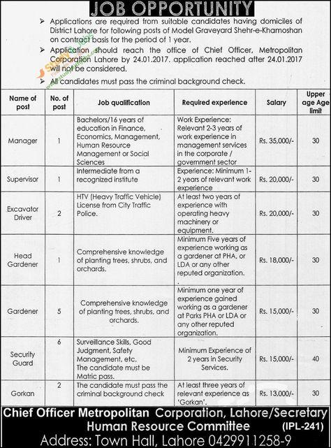Chief Officer Metropolitan Corporation Vacancies in Lahore 9th - chief executive officer job description