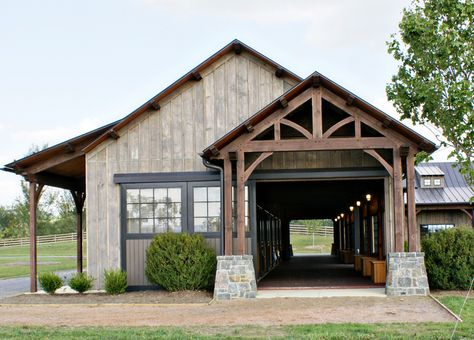 Stable with wood truss entry