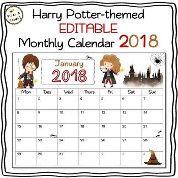 Harry Potter Calendar 2020 EDITABLE Harry Potter PLANNER 2019 & 2020   FREE UPDATES   Google