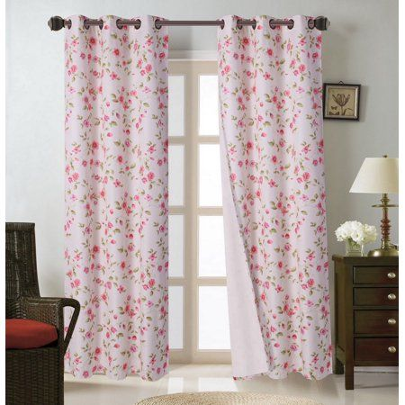 """2pc FLORAL Cottage Style Grommet Window Curtain Light Blocking Panels IN 63/"""""""