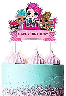 Lol Cake Topper Happy Birthday Cake Topper Pink Cake Decorations For Bday Theme Party Single Side 1 Count Amazon Com Grocery Gourmet Food Gambar
