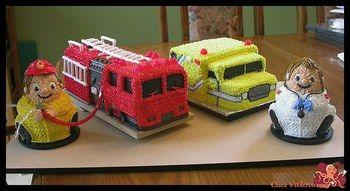 Camion et pompier 3D, Ambulance et médecin  3D