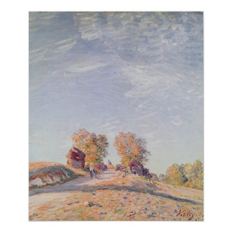 Alfred Sisley Uphill Road In Sunshine Poster Zazzle Com Poster Custom Posters Sisley