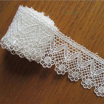 2 yd Vintage Embroidered Lace Edge Trim Ribbon Applique DIY Crochet Sewing Craft