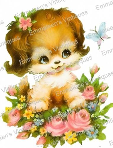 $10.92 - Vintage Image Shabby Retro Puppy Dog With Flowers Waterslide Decals An764 #ebay #Home & Garden