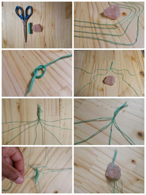 Macrame style necklace from a rough stone or crystal and some cord. Diy Macrame Stone Necklace Diy Necklace Stone Wrapping Jewelry Macrame interchangeable necklace supplies is a ruler or tape measure. Macrame Necklace, Macrame Jewelry, Stone Necklace, Crystal Necklace, Rock Necklace, Layered Necklace, Crystal Jewelry, Silver Jewelry, Macrame Owl