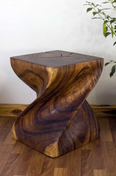 End Table Natural Wood Big Twist Walnut Natural Wood Furniture