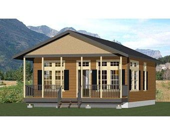 24x30 House 1 Bedroom 1 Bath 768 Sq Ft Pdf Floor Plan Instant Download Model 2f Roof Framing Home Builders Stucco Siding