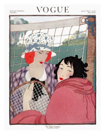 Vogue - June 1920    Two women stand in front of a tennis net. One wears a purple plaid coat; the other sports a deep pink style and holds a tennis racquet. Helen Dryden's breezy illustration graced the June 1, 1920, cover of Vogue.