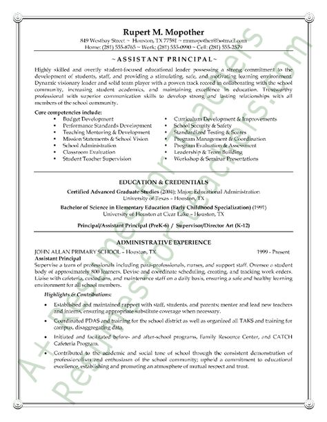 Assistant School Principal Resume or CV Sample aka Vice - assistant principal resume