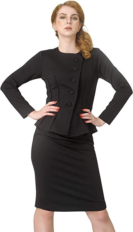 Marycrafts Womens Formal Office Business Shirt Jacket Skirt Suit