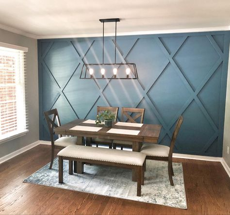 Our beautiful Dining Room with modern farmhouse table and a wood accent wall. Click the link to see how we did it! Farmhouse Dining Room, Accent Walls In Living Room, Interior Design, Living Room Wall, House Interior, Interior, Dining Room Accent Wall, Home Decor, Dining Room Accents