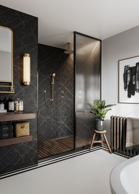 From mood board to final look. Here we bring the 'Modern Classic' vision of to life, by showing you how versatile our bathroom wall panels can be. This is the ultimate walk in shower. Black Marble Bathroom, Small Bathroom, Bathroom Ideas, Marble Bathrooms, Master Bathroom, Shiplap Bathroom, Bathroom Plants, Boho Bathroom, Industrial Bathroom