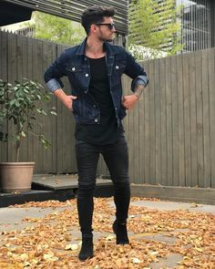 Fall double denim dark wash denim jacket black t-shirt black skinny jeans black chelsea boots sunglasses.