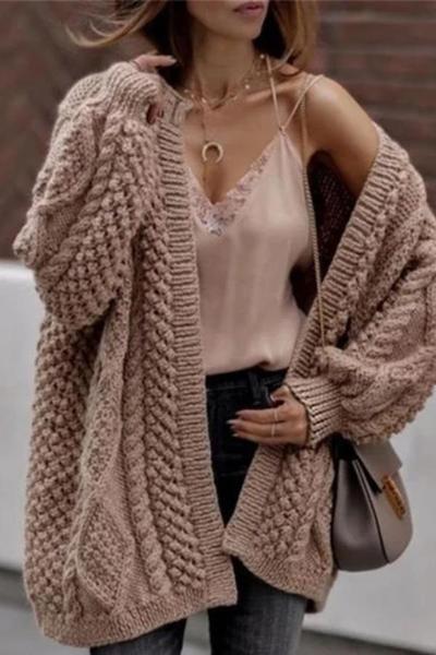 Casual Loose Knit Twist Cardigan Coat – linenlooks cardigans fall,Cardigans,cardigans for women,cardigans outfit #cardiganswinter #cardigansoutfitfall #sweatercardigan