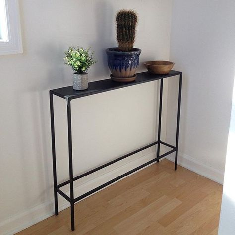 Slim Console Tables In Natural Steel Modern Console Tables