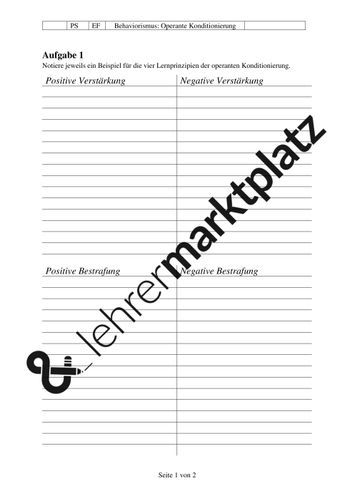 Operante Konditionierung Arbeitsblatt Psychologie Unterrichtsmaterial In Den Fachern Padagogik Schulfach Psychologie Psychologie Arbeitsblatter Unterrichtsmaterial