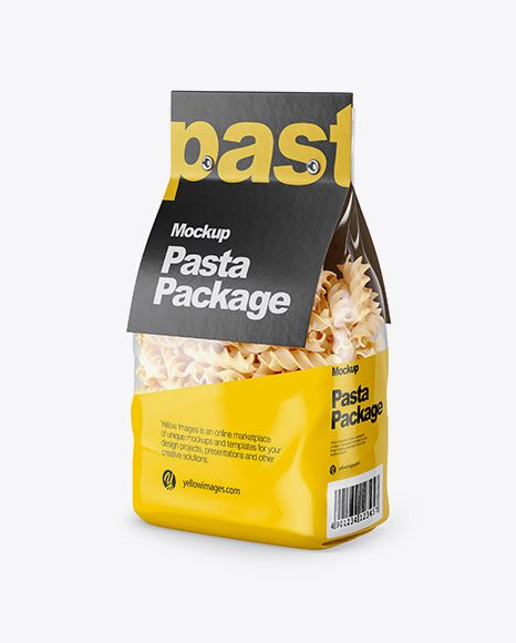 Download Fusilli Pasta With Label Mockup Half Side View In Bag Sack Mockups On Yellow Images Object Mockups Mockup Free Psd Free Mockup Mockup