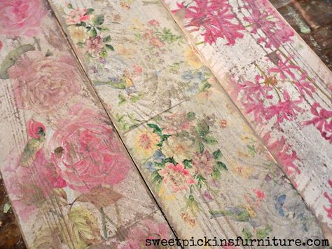 decoupage floral napkins over weathered wood and distress
