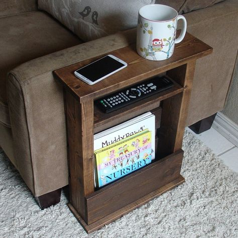 Handmade tray table stand with shelf and storage pocket. The perfect addition to a sofa chair in any home, apartment, condo, or man cave.  It has been sanded down, then stained and sealed with a dark walnut finish. The stand is free standing and can be used anywhere around the house.
